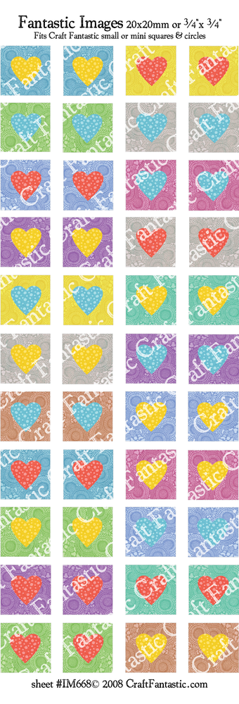 COLORFUL HEARTS mini & small glass sizes