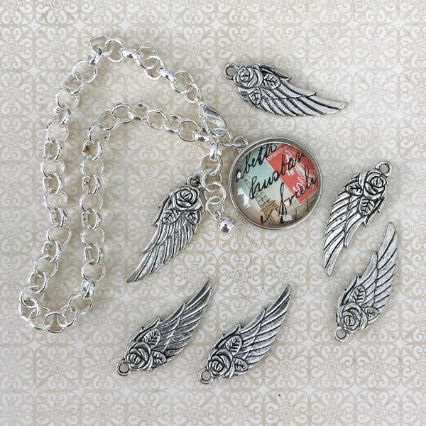 WING CHARM antique silver