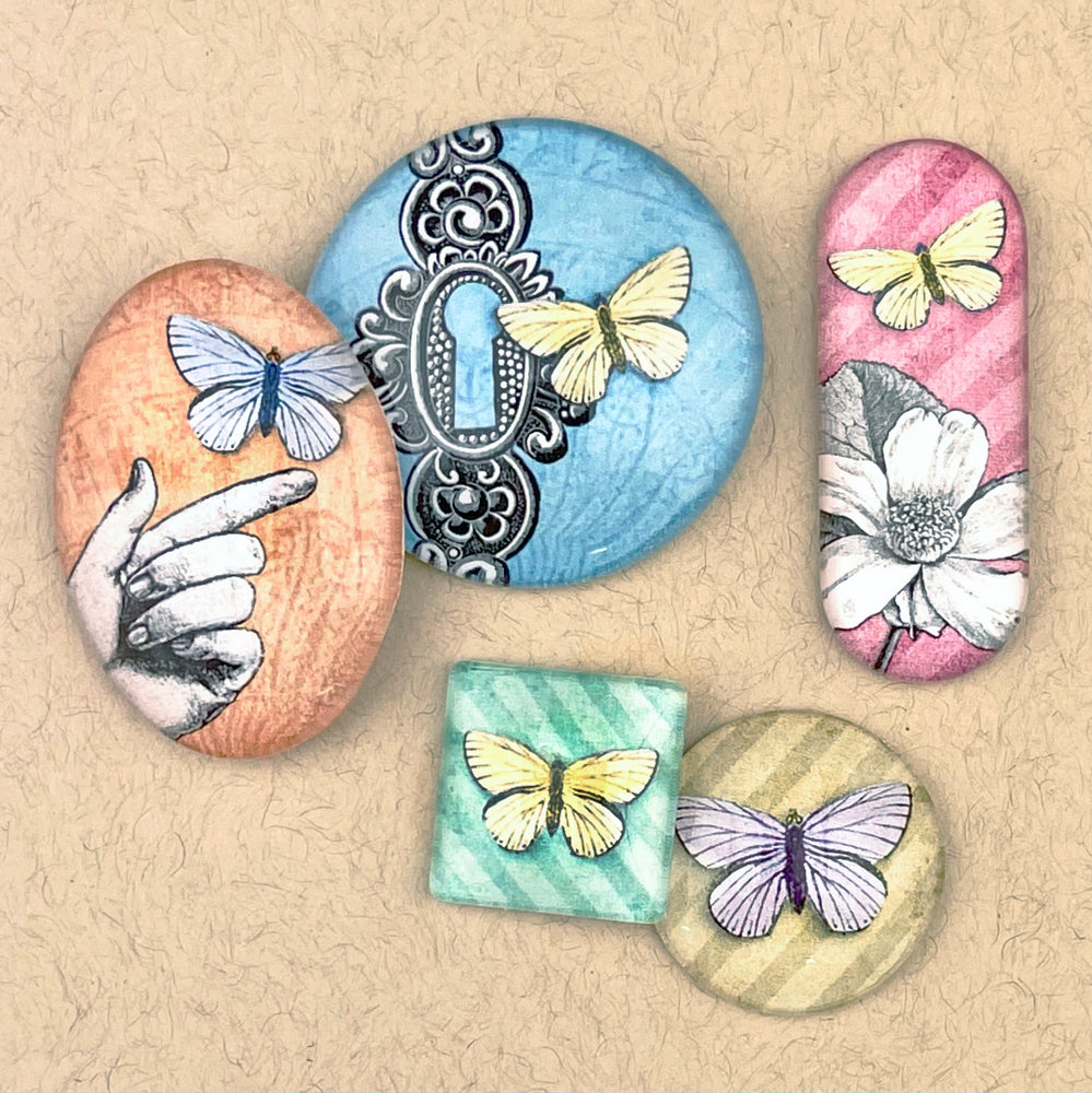 BUTTERFLIES UNIQUE #1 mini & small glass sizes