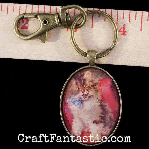 KEYRINGS W/ CLIPS antique brass