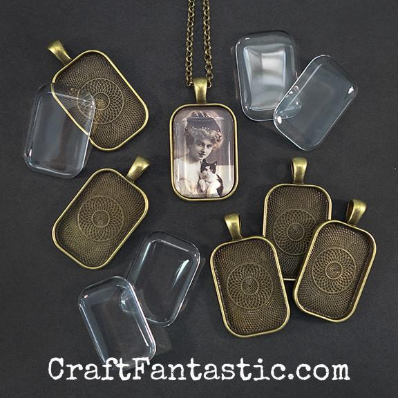 SMALL RECTANGLE PENDANT KIT antique brass