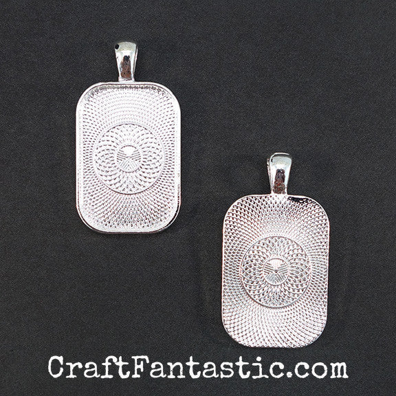 PUFFY RECTANGLE PENDANT KIT silver