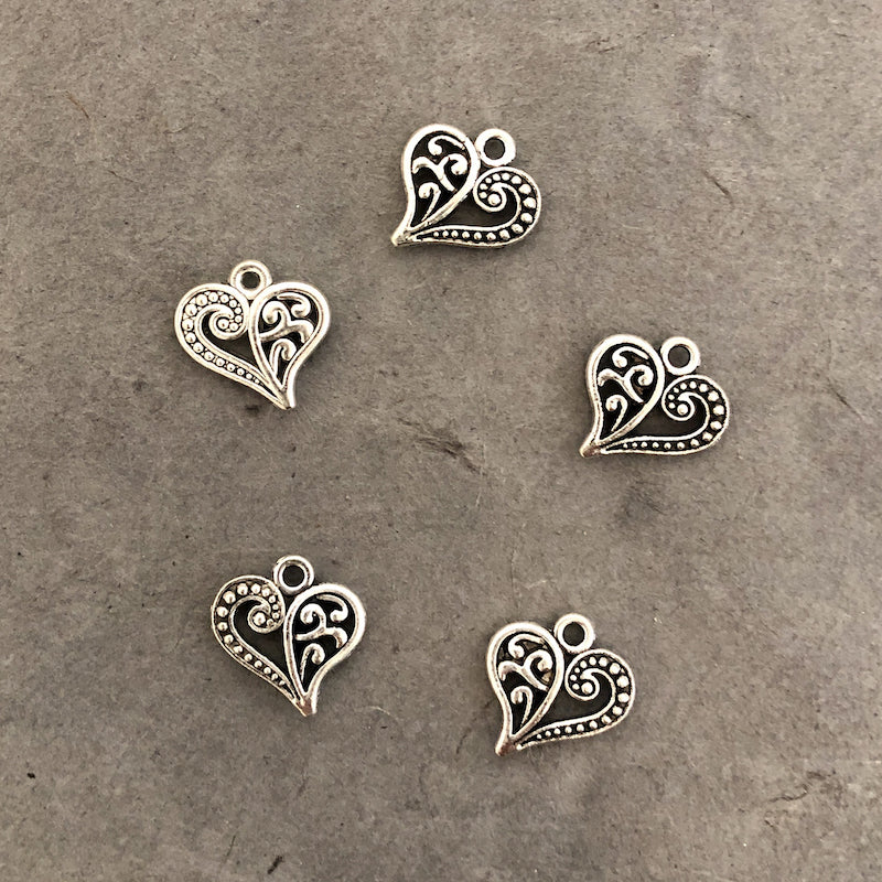 PAISLEY HEART CHARM antique silver