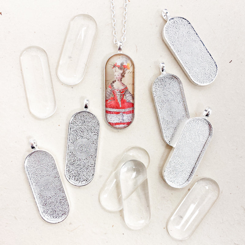 PUFFY LONG OVAL PENDANT KIT silver
