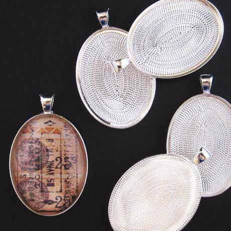 Silver Large Oval Pendant Trays