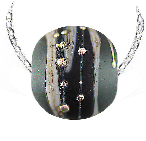 Etched Steel Grey Round Cremation Bead Necklace