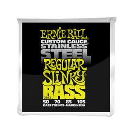 Ernie Ball Regular Slinky Stainless Steel Electric Bass Strings, 50-105