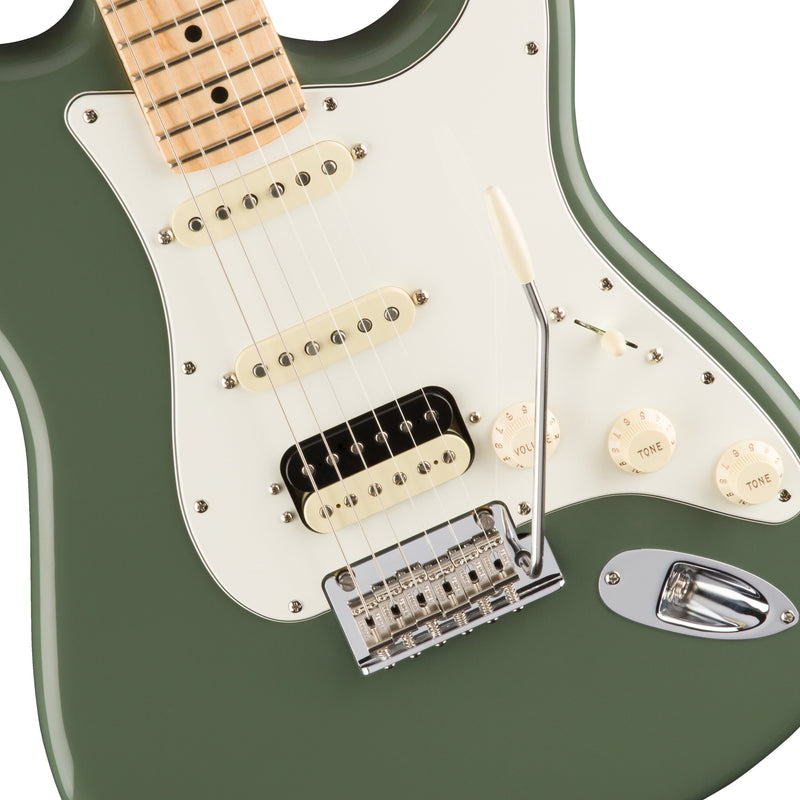 Fender American Professional HSS Shawbucker Stratocaster Electric Guitar, Maple FB, Antique Olive
