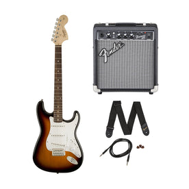 Squier Affinity Series SSS Short-Scale Stratocaster Electric Guitar Pack w/Frontman 10G Amp, Laurel FB, Brown Sunburst