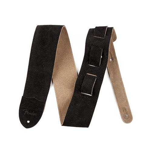 Fender 2 1/2 inch Strap Suede Electric Guitar Strap, Black