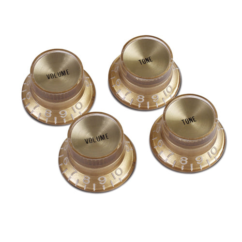 Gibson PRMK-030 Top Hat Style Knobs, Gold w/Gold Metal Insert (4/pkg)