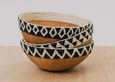 black + white beaded wooden bowl