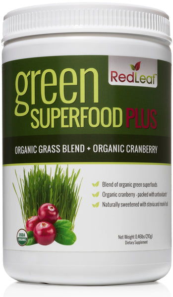 Red Leaf Green Superfood Plus - Organic Grass Blend Plus Organic Cranberry Supplement - 30 Servings
