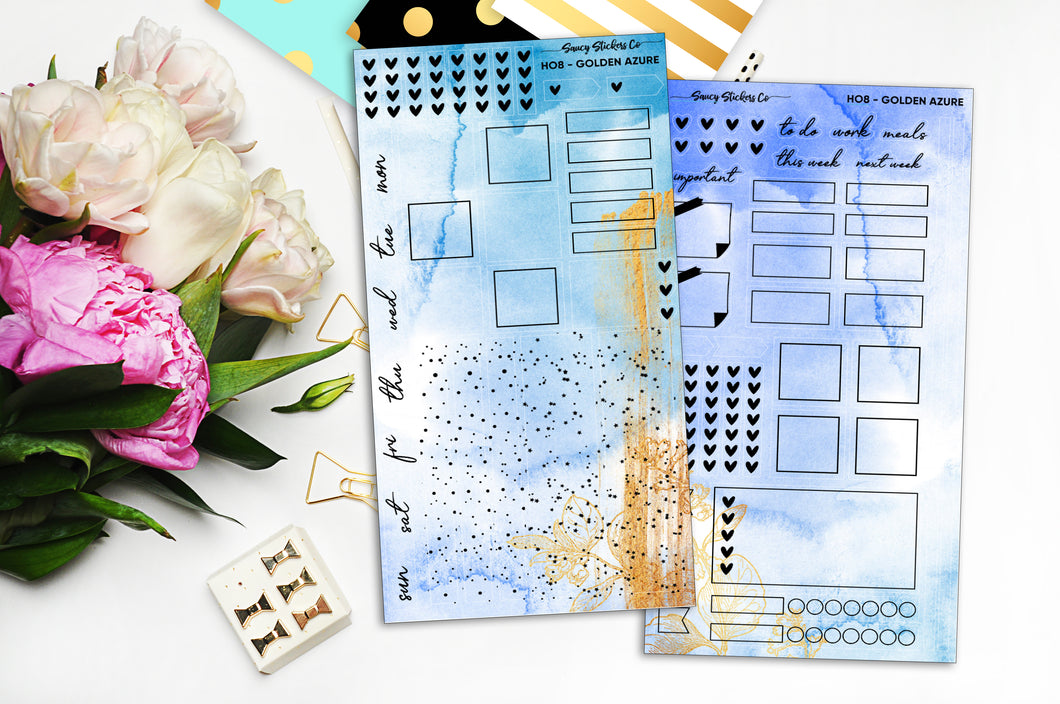 Foiled Golden Azure - HO8 | Hobonichi Weeks Kit