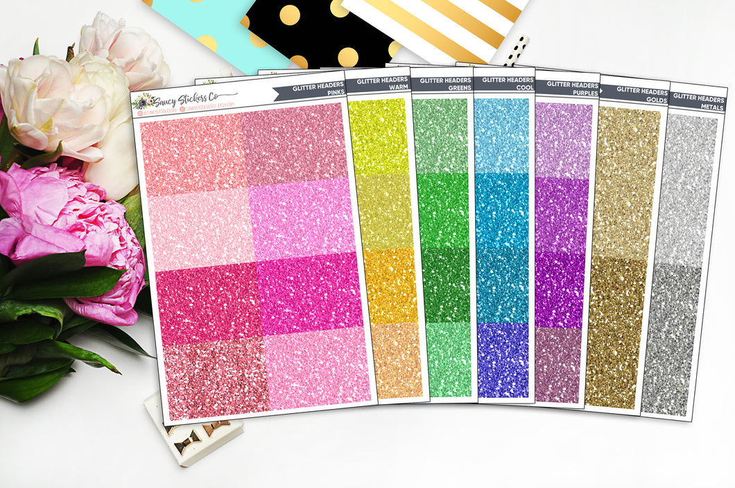 Faux Glitter Headers