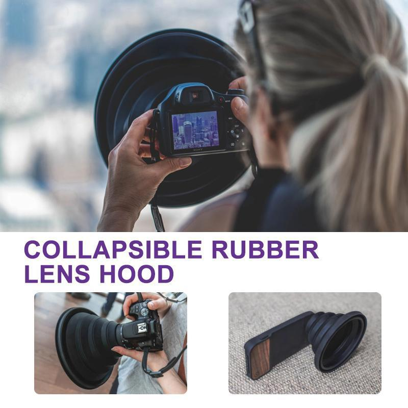 Flexible Telescopic lens hood for phone or camera