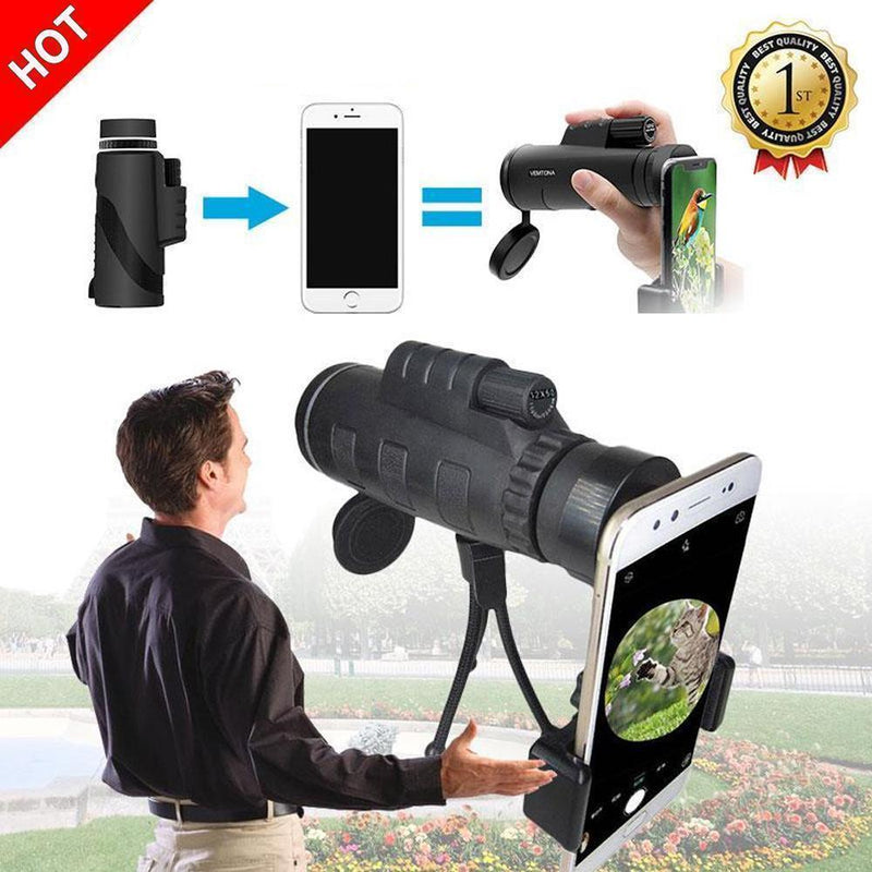 12X50 High Power Monocular Telescope With Smartphone Adapter and Tripod, Waterproof & Fogproof