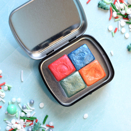 Festive Half Pan Handmade Watercolor Set of 4