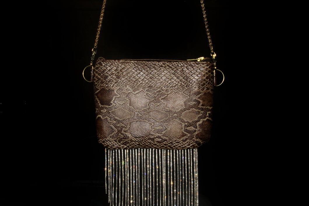Snake Skin Crystal Fringe Leather Handbag
