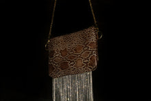 Load image into Gallery viewer, Snake Skin Crystal Fringe Leather Handbag