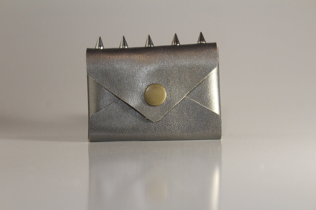 Pewter envelope card case with spikes