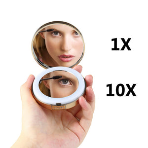 1 PCS Women LED Foldable Makeup Mirrors Lady Cosmetic Hand Folding Portable Compact Pocket Mirror 1/10X Magnifying HD