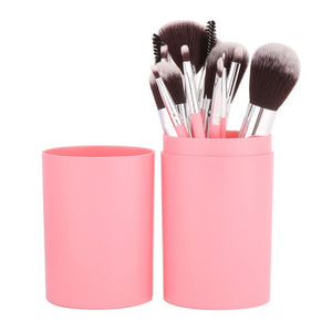 12Pcs/Sets Eye Shadow Foundation Eyebrow Lip Brush cosmetics Makeup Brushes Tool Leather Cup Holder Case Kit