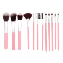 Load image into Gallery viewer, 12Pcs/Sets Eye Shadow Foundation Eyebrow Lip Brush cosmetics Makeup Brushes Tool Leather Cup Holder Case Kit
