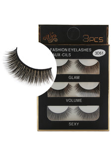 3Pcs Handmade Natural Effect Volumizing Makeup Fake Eye Lashes