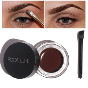 Focallure Makeup Women Eye Tint Brow Pigments With Brush Kit Black Brown Color Waterproof Eyebrows Gel