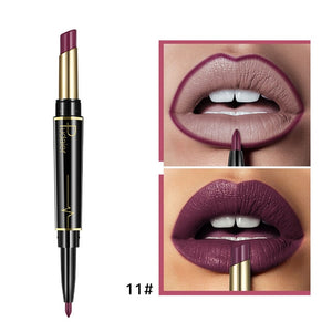 Matte Lipstick Wateproof Double Ended Long Lasting Lipsticks Brand Lip Makeup Cosmetics Nude Dark Red Lips Liner Pencil