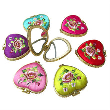 Load image into Gallery viewer, Mini Pocket Compact Portable Embroidered Mirror Round Mirror Looking Glass Makeup Tools