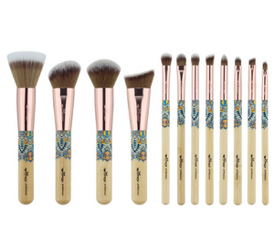 Makeup Brushes 12PCS Set Bamboo Make Up Brush Soft Synthetic Collection Kit with Powder Contour