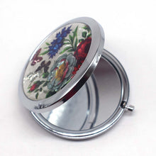 Load image into Gallery viewer, Mini Makeup Compact Pocket Mirror Flower Butterfly Bamboo Metal Portable Two-side Folding Makeup Mirror