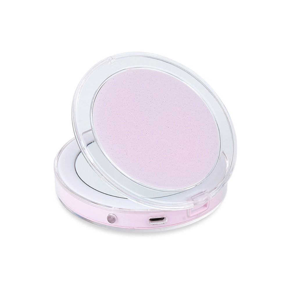 LED Lighted Mini Makeup Mirror 3X Magnifying Compact Travel Portable Sensing Lighting Touch Screen Makeup Mirror