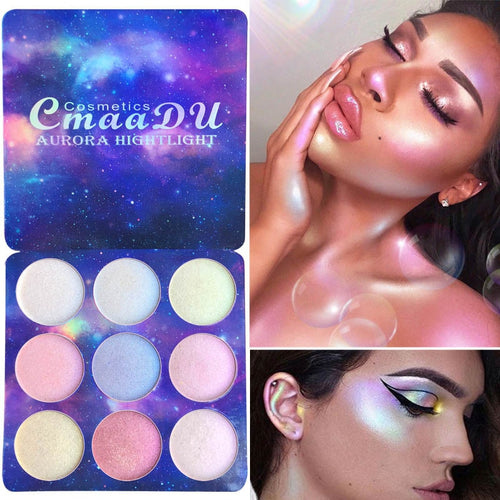 CmaaDu Highlighter Illuminator Makeup palette Face Brighten Contouring Highlighter Powder Palette Bronzer Face Glow Kit Cosmetics