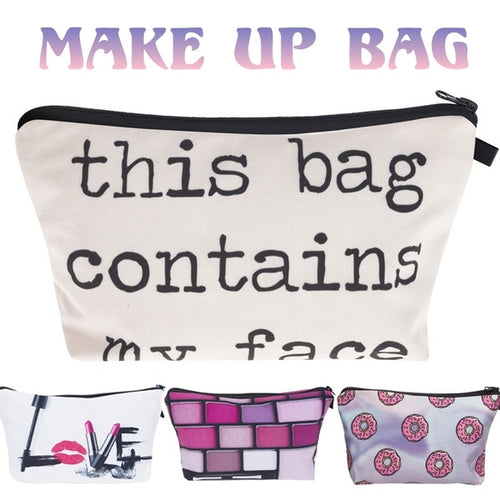 Fashion Lipstick LOVE Letter This Bag Contains My Face Flower Girl Donut Fruits 3D Printed Cosmetic Bags Multifuncition for Travel(8.6''*5.3