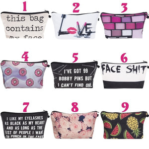 "Fashion Lipstick LOVE Letter This Bag Contains My Face Flower Girl Donut Fruits 3D Printed Cosmetic Bags Multifuncition for Travel(8.6''*5.3""*0.78"")"