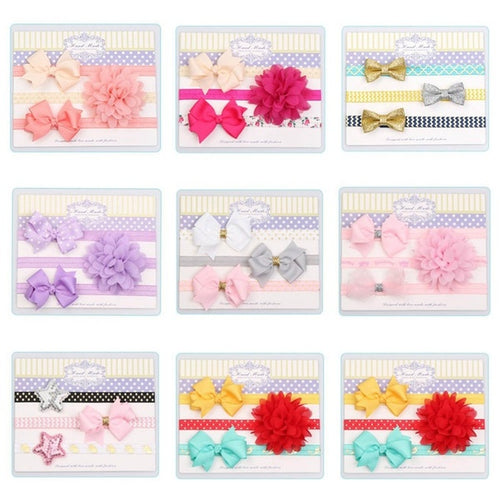 3Pcs/set Elastic Colorful Baby Kids Girl Child Toddler Infant Flower Floral Bowknot Hairband Turban Headband Hair Band Accessories for children