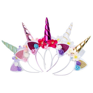 Cute Magical Unicorn Horn Head Party Kid Girl Hair Headband Fancy Dress Cosplay Decorative (children's makeup)
