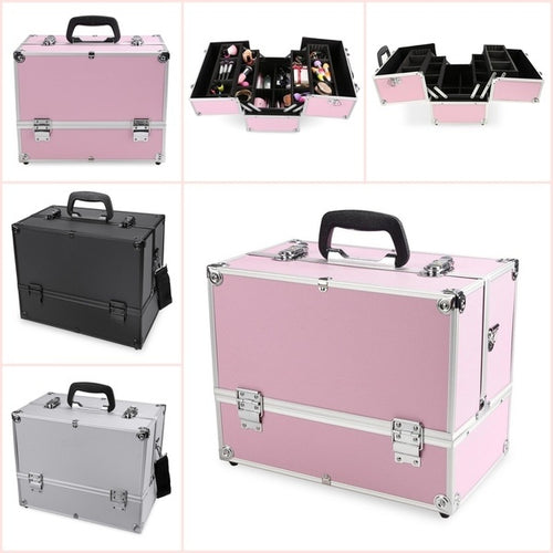Pro Aluminum Hand Case Jewelry Box Lockable Cosmetic Organizer Makeup storage Box
