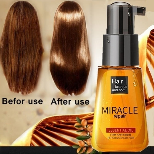 Lady Dry Hair Care Moroccan Pure Argan Oil Hair Repair Damaged Improve Split Hair Rough Moisturizing Essential Oil