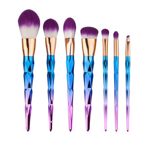 7pcs Diamond Shape Rainbow Handle Makeup Brushes Set Foundation Powder Blush EyeShadow Lip Brush kwasten Beauty Makeup Tools Kit