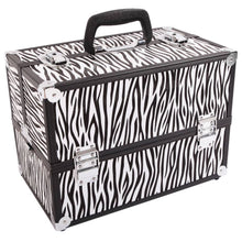 Load image into Gallery viewer, SM-2083 Aluminum Alloy Makeup Storage Box Train Case Jewelry Box Organizer White Zebra Stripe