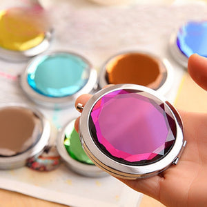 2016 Metal Pocket Mirror Makeup Fold Round Crystal Compact Mirror Women Girls Portable Double Sides Mirrors Promotional Gifts FH