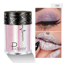 Load image into Gallery viewer, Pudaier Glitter Lip Loose Powder Shimmer Lip Tint Holographic Face eyeshadow Nails Shade Makeup Nude Pigment Festival Diamond Make Up