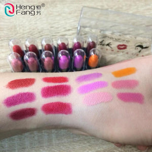 12Colors/Set Mini Cute 12 Colors Lipstick Travel Set Waterproof Lip Color 1.2gx12 High Quality Lips Makeup Brand HengFang #9022