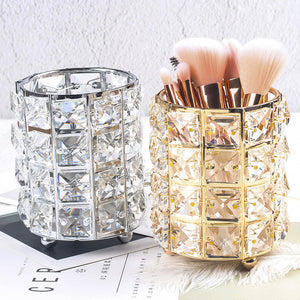 Europe Metal Makeup Brush Storage Tube Eyebrow Pencil Makeup Organizer Bead Crystal Jewelry Storage Box