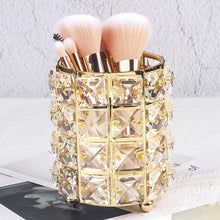 Load image into Gallery viewer, Europe Metal Makeup Brush Storage Tube Eyebrow Pencil Makeup Organizer Bead Crystal Jewelry Storage Box