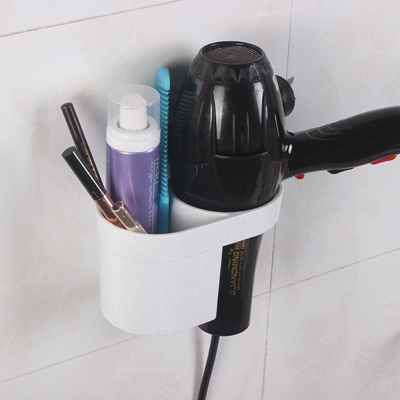 Storage Box Waterproof Sticky Dryer Holder Wall Mounted Bathroom Spiral Blower Rack with Plug Hook